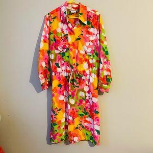 Vintage DVF Silk Floral Button Up Dress